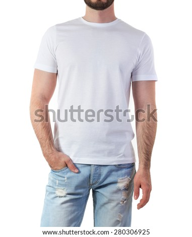 Man in white t-shirt mock-up isolated on white