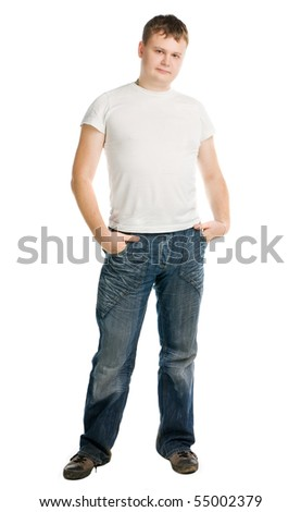 man in white t-shirt stand on white background - stock photo