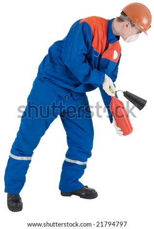 Man in worker to cloth and helmet with fire-extinguisher in hands - stock photo
