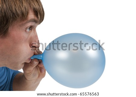 man inflating blue balloon isolated on white - stock photo