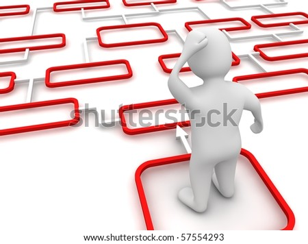 Man inside red and white and diagram. 3d rendered illustration. - stock photo