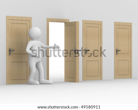 man invites to pass open door. 3D image - stock photo