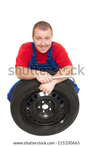 man is based on the wheel on white background - stock photo