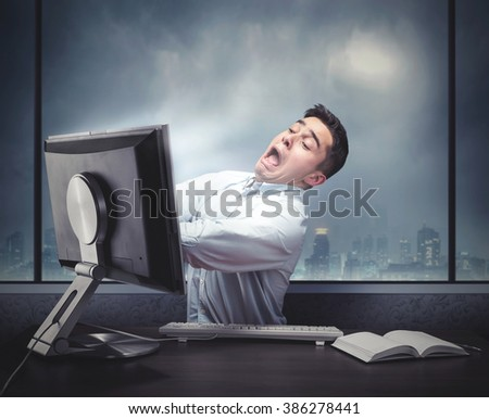 Man is being drawing in the computer