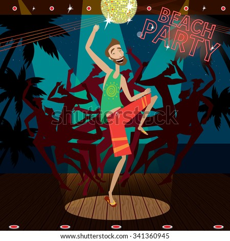 Man is dancing at a beach party | raster version - stock photo