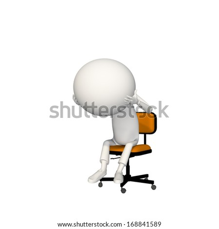 Man is depressed and holding his gigantic head in orange chair. View 2/6.