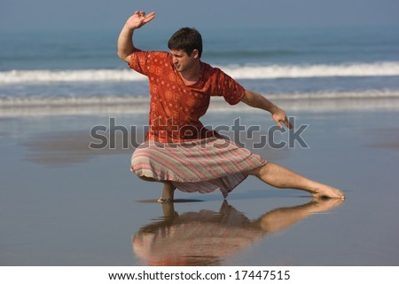 man is doing east gymnastic - stock photo