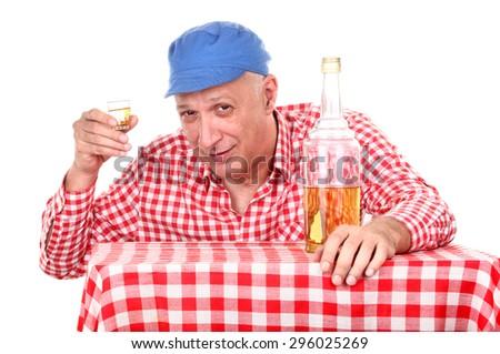 Man is drinking brandy - stock photo