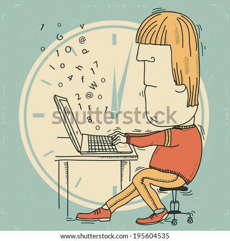 man is fascinated by working on notebook.Raster - stock photo