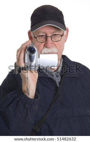 Man is filming isolated on white