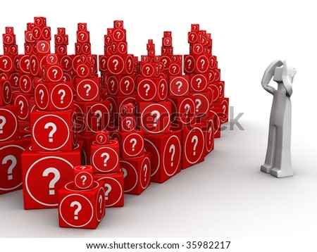 Man is headaches and stress seeing group of question mark cube box 3d illustration - stock photo