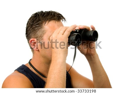 man is looking through binocular isolated on white background