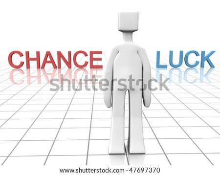 Man is making decision to go with chance or luck  3d illustration - stock photo