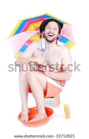 Man is making his own vacation at home - stock photo