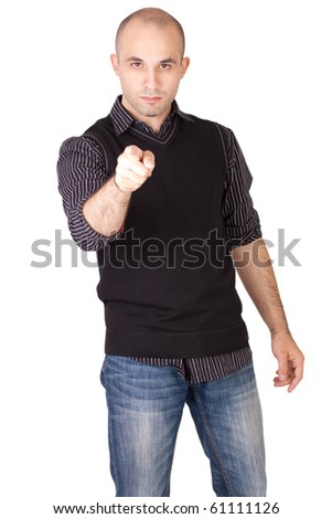 Man is pointing - stock photo