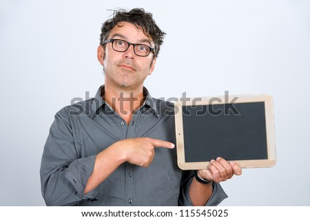 man is pointing at a tablet - stock photo