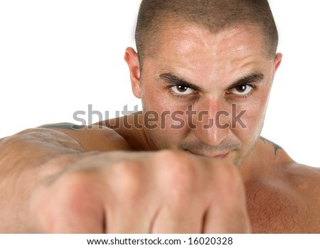 Man is showing his powerful fist , isolated on white - stock photo