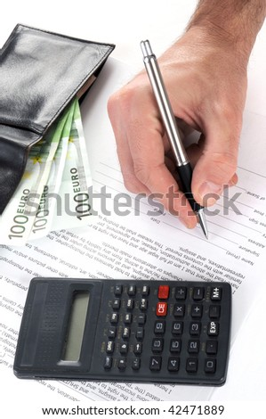 man is signing a contract with pen, isolated on white - stock photo