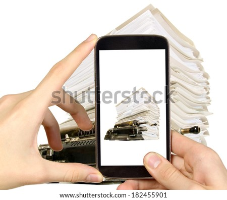Man is taking photo of documents with smart mobile phone - stock photo