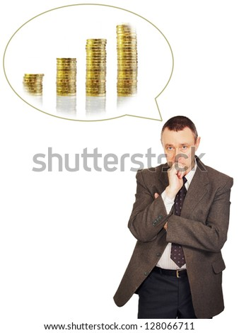 Man is thinking about income growth - stock photo
