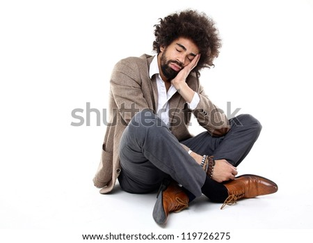 Man is tired - stock photo
