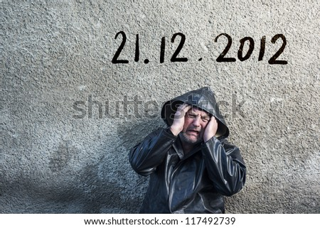 Man is waiting for end of the world. - stock photo