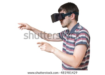 Man is wearing vr glasses and touching something. Isolated on white background.