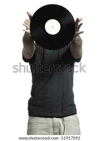 Man isolated on a white background is showing off an old lp record. - stock photo