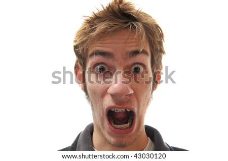 Man isolated on white screaming for his life. - stock photo