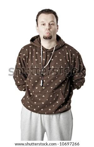 Man isolated on white whistling - stock photo