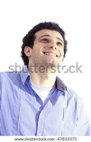 man isolated over a white background - stock photo