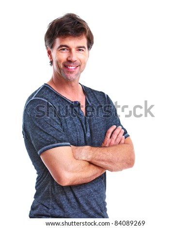 Man. Isolated over white background - stock photo