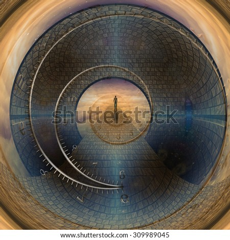 Man journeys through doorway of time Created by me entirely from my own images - stock photo