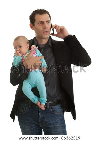 Man juggling in being businessman and a father - stock photo