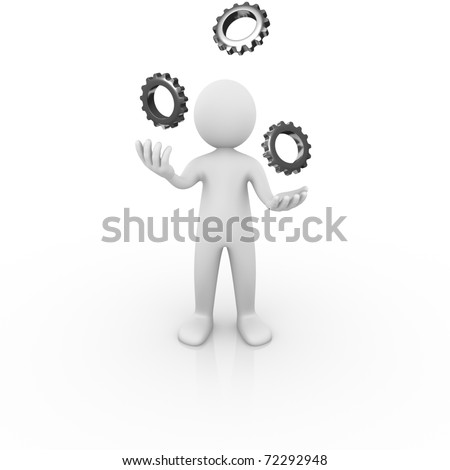 Man juggling with gears - stock photo