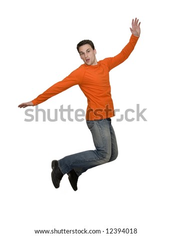 man jumping studio isolated over white - stock photo