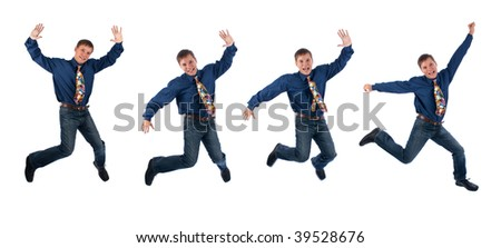 man jumping with joy isolated on white background