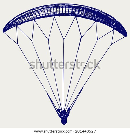 Man jumping with parachute. Doodle style. Raster version - stock photo