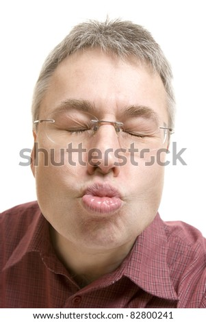 Man kiss portrait - stock photo