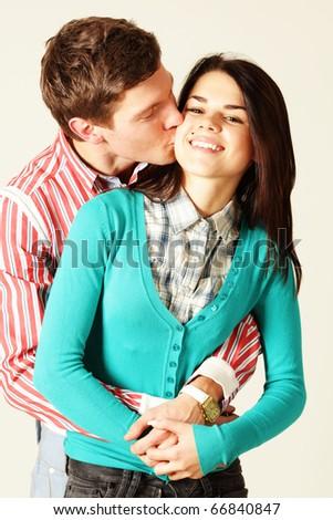 man kissing woman - stock photo