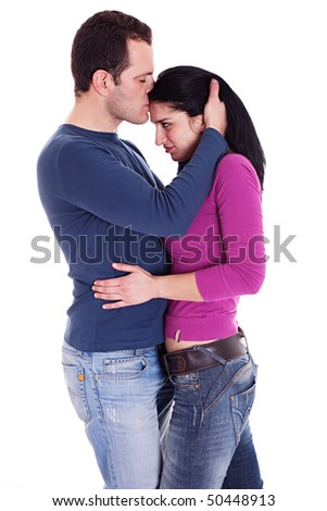 man kissing woman, isolated on white background - stock photo