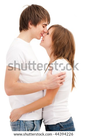 Man kissing woman. Young attractive couple  Young attractive couple - stock photo