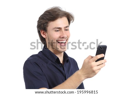 Man laughing texting on the mobile phone isolated on a white background  - stock photo