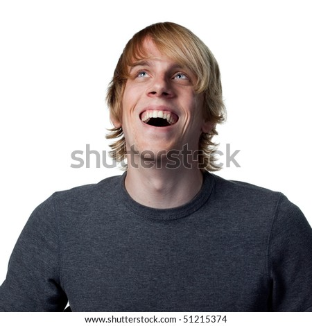Man laughs out loud, happy fun image on white