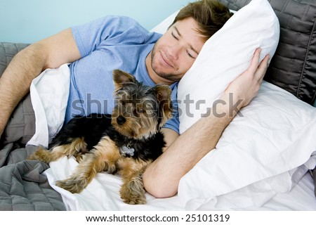 Man laying in bed with a puppy - stock photo