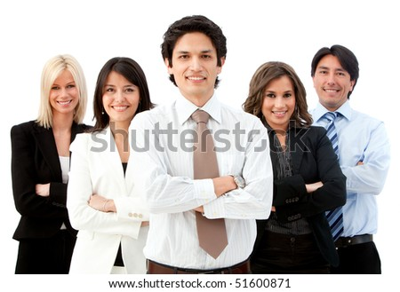 Man leading a business team isolated over a white background