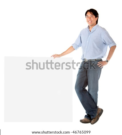 Man leaning on a banner isolated over a white background - stock photo