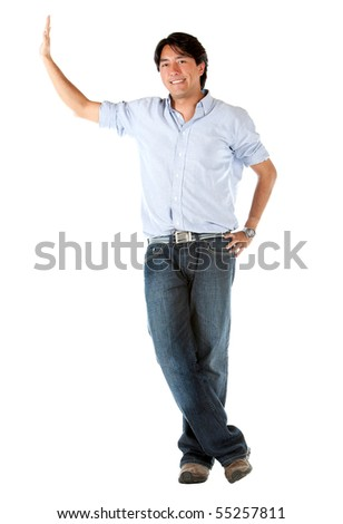 Man leaning on the wall isolated over a white background - stock photo