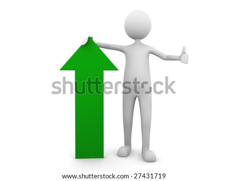 Man leaning to economy green arrow - stock photo