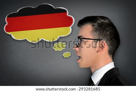 Man learn speaking german in bubble - stock photo